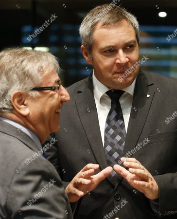 Eu Commissioner For Environment Maritime Affairs and Fisheries Karmenu Vella (l) and Slovenian Minister of Agriculture Forestry and Food Dejan Zidan (r) Chat at the Start of the Agriculture and Fisheries Council in Luxembourg 10 October 2016 the Commission Will Present Its Omnibus Proposal and Notably Its Impact on the Main Cap Regulations to the Council Which is Also Due to Agree on Next Year's Fishing Opportunities in the Baltic Sea Luxembourg Luxembourg