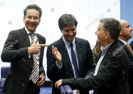 (l-r) President of Eurogroup Jeroen Dijsselbloem Greek Alternate Minister of Finance George Chouliarakis and Greece's Finance Minister Euclid Tsakalotos at the Start of the Eurogroup Finance Ministers Meeting in Luxembourg 10 October 2016 Luxembourg Luxembourg