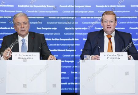 Eu Commissioner For Migration and Home Affairs Dimitris Avramopoulos (l) Holds a News Conference with Dutch Minister of Security and Justice Ard Van Der Steur (r) During the Justice and Home Affairs Council Meeting in Luxembourg 21 April 2016 Ministers Will Discuss Security Matters Following-up on the Meeting of 24 March 2016 in the Aftermath of the Brussels Attacks and Also Discussions on the Implementation of the March European Council Conclusions and the Eu-turkey Statement Luxembourg Luxembourg