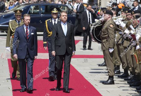 Grand Duke Henri of Luxembourg (l) Welcomes Romania's President Klaus Iohannis (r) During a State Visit in Luxembourg 06 June 2016 Romania's President Klaus Iohannis and His Wife Carmen Johannis Are Visiting Luxembourg For Two Days Luxembourg Luxembourg