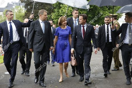 Romania's President Klaus Iohannis (2-l) with His Wife Carmen Iohannis (c) and Luxembourg Prime Minister Xavier Bettel (r) at the Memorial For Solidarity During a State Visit in Luxembourg 06 June 2016 Romania's President Klaus Iohannis and His Wife Carmen Johannis Are on a Two Day Visit to Luxembourg Luxembourg Luxembourg