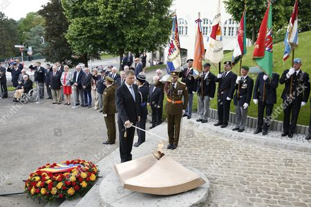 Romania's President Klaus Iohannis (c) at the Memorial For Solidarity During a State Visit in Luxembourg 06 June 2016 Romania's President Klaus Iohannis and His Wife Carmen Johannis Are on a Two Day Visit to Luxembourg Luxembourg Luxembourg