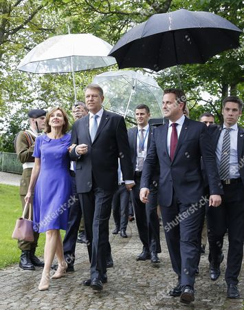 Romania's President Klaus Iohannis (c) with His Wife Carmen Iohannis (l) and Luxembourg Prime Minister Xavier Bettel (r) at the Memorial For Solidarity During a State Visit in Luxembourg 06 June 2016 Romania's President Klaus Iohannis and His Wife Carmen Johannis Are on a Two Day Visit to Luxembourg Luxembourg Luxembourg