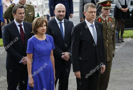 (l-r) Luxembourg Prime Minister Xavier Bette Luxembourg Vice Minister Etienne Schneider Romania's President Wife Carmen Iohannis and Romania's President Klaus Iohannis at the Memorial For Solidarity During a State Visit in Luxembourg 06 June 2016 Romania's President Klaus Iohannis and His Wife Carmen Johannis Are on a Two Day Visit to Luxembourg Luxembourg Luxembourg