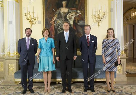 (l-r) Prince Guillaume of Luxembourg Romania's President Wife Carmen Iohannis Romania's President Klaus Iohannis Grand Duke Henri of Luxembourg and Princess Stephanie of Luxembourg Pose For Photographers During a State Visit in Luxembourg 06 June 2016 Romania's President Klaus Iohannis and His Wife Carmen Johannis Are Visiting Luxembourg For Two Days Luxembourg Luxembourg