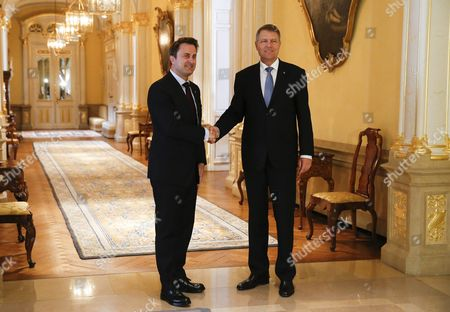 Romania's President Klaus Iohannis (r) Shakes Hand with Luxembourg Prime Minister Xavier Bettel (l) Prior to a Meeting During a State Visit in Luxembourg 06 June 2016 Romania's President Klaus Iohannis and His Wife Carmen Johannis Are on a Two Day Visit to Luxembourg Luxembourg Luxembourg