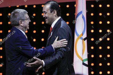 Kazakhstan Prime Minister Karim Massimov (r) Have Chat with International Olympic Committee (ioc) President Thomas Bach (l) During the Presentations by the Candidate Cities For the Third Winter Youth Olympic Games in 2020 at the Convention Centre in Kuala Lumpur Malaysia 31 July 2105 Malaysia Hosts the 128th International Olympic Committee Executive Board Meetings From 28 July to 03 August where Countries Will Be Lobbying who Will Be Host of the 2022 Olympic Winter Games and For the 2020 Youth Olympic Winter Games Malaysia Kuala Lumpur