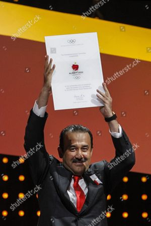 Kazakhstan Prime Minister Karim Massimov Hold the Diploma During the Presentations by the Candidate Cities For the Third Winter Youth Olympic Games in 2020 at the Convention Centre in Kuala Lumpur Malaysia 31 July 2105 Malaysia Hosts the 128th International Olympic Committee Executive Board Meetings From 28 July to 03 August where Countries Will Be Lobbying who Will Be Host of the 2022 Olympic Winter Games and For the 2020 Youth Olympic Winter Games Malaysia Kuala Lumpur