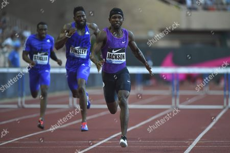 Bershawn Jackson From United States Competes in the 400m Hurdles Men Event During the Herculis Diamond League Athletics Meeting at Stade Louis Ii in Monaco 17 July 2015 Monaco Monaco