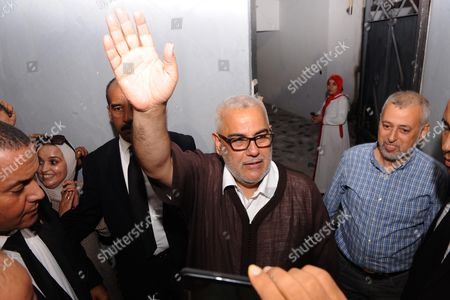 Moroccan Prime Minister and Secretary General of the Ruling Islamist Justice and Development Party (pjd) Abdelilah Benkirane (c) Thanks His Suporters Outside His Home in Rabat Morocco 08 October 2016 Following His Party's Parliamentary Election Victory Morocco Rabat