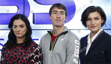 Russian World and Olympic Champions (l-r): Yelena Isinbayeva (pole Vault) Sergei Shubenkov (sprint) and Anna Chicherova (high Jump) Pose For the Media After a News Conference in Moscow Russia 16 November 2015 Russia Still Expects to Compete at the Rio Olympics Next Year Despite the Decision by Ruling Athletics Body Iaaf to Provisionally Suspend the Country's Federation Over Doping Sports Minister Vitaly Mutko was Quoted As Saying He Believed Russia's Doping Issues Would Be Resolved in Time For the Olympics Russian Federation Moscow