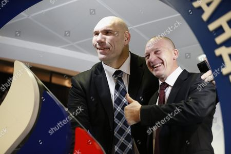Russian Diver Dmitri Sautin (r) and Former Professional Boxer Nikolai Valuev (l) Attend the Ball For Russian Olympians in Moscow Russia Late 10 December 2015 Russian Federation Moscow