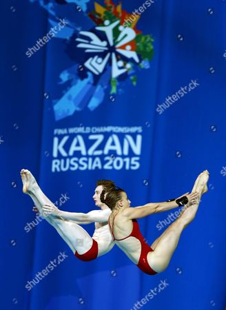 French Divers Benjamin Auffret and Laura Marino Perform During the Mixed 10m Synchro Platform Final at the 16th Fina Swimming World Championships in Kazan Russia 25 July 2015 Russian Federation Kazan