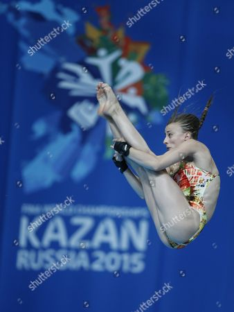 French Diver Laura Marino Performs During the Diving Women's 10-meters Platform Preliminary Round at the 16th Fina World Championships in Kazan Russia 29 July 2015 Russian Federation Kazan