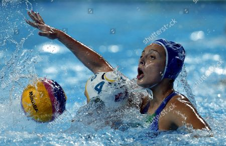 Stock Image of Chiara Tabani (r) of Italy Vies For the Ball with Holly Lincoln-smith (l) of Australia During the Women's Fina Water Polo Bronze Medal Match Between Italy and Australia of the Fina Swimming World Championships 2015 in Kazan Russia 07 August 2015 Russian Federation Kazan