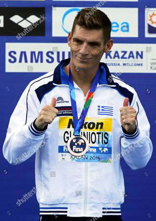 Spyridon Gianniotis of Greece Celebrates on the Podium After Winning the Silver Medal in the Men's 10km Open Water Swimming Race at the Fina Swimming World Championships 2015 in Kazan Russia 27 July 2015 Russian Federation Kazan