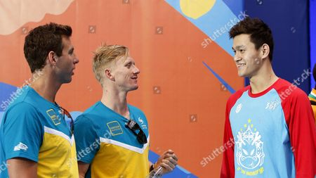 Stock Picture of Grant Hackett (l) of Australia Talks to Sun Yang (r) of China As Theyr Arrive For a Training Session During the Fina Swimming World Championships in Kazan Russia 30 July 2015 Russian Federation Kazan