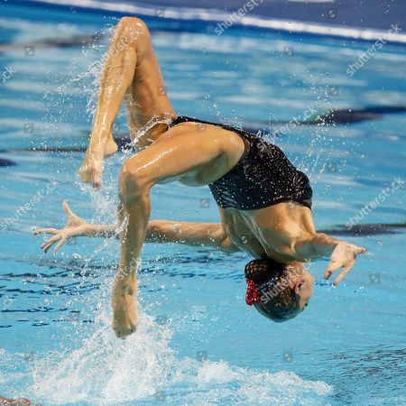 Virginie Dedieu and Benoit Yves Beaufils of France Perform During the Synchronized Swimming Mixed Duet Free Final Free Routine at the Fina Swimming World Championships at Kazan Arena in Kazan Russia 30 July 2015 Russian Federation Kazan