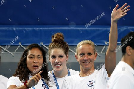Us Swimmers (l-r) Chelsea Chenault Missy Franklin and Jessica Hardy Attend a Training Session at the Fina Swimming World Championships in Kazan Russia 30 July 2015 Russian Federation Kazan