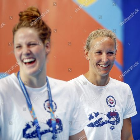 Us Swimmers Jessica Hardy (r) and Missy Franklin (l) Attend a Training Session at the Fina Swimming World Championships in Kazan Russia 30 July 2015 Russian Federation Kazan