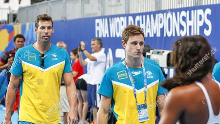 Grant Hackett (l) of Australia Arrives For a Training Session During the Fina Swimming World Championships in Kazan Russia 30 July 2015 Russian Federation Kazan