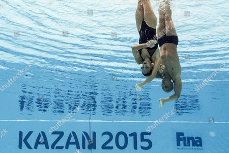 Benoit Yves Beaufils and Virginie Dedieu of France Perform During the Synchronized Swimming Mixed Duet Free Preliminary Free Routine at the Fina Swimming World Championships at Kazan Arena in Kazan Russia 28 July 2015 Russian Federation Kazan