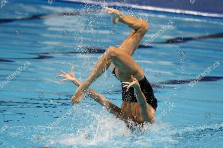 Virginie Dedieu and Benoit Yves Beaufils (not Pictured) of France Perform During the Synchronized Swimming Mixed Duet Free Final Free Routine at the Fina Swimming World Championships at Kazan Arena in Kazan Russia 30 July 2015 Russian Federation Kazan
