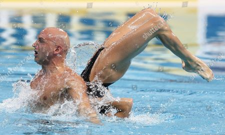 Benoit Yves Beaufils (l) and Virginie Dedieu of France Perform During the Synchronized Swimming Mixed Duet Free Routine Preliminary of the Fina Swimming World Championships at the Kazan Arena in Kazan Russia 28 July 2015 Russian Federation Kazan