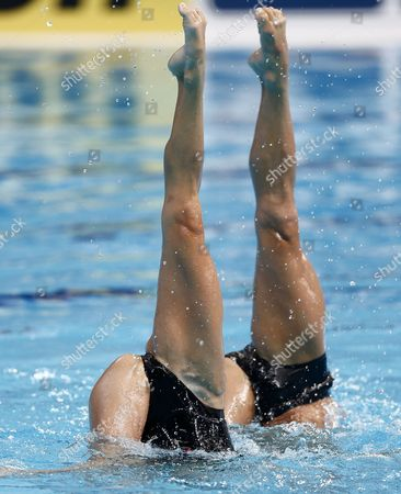 Benoit Yves Beaufils (r) and Virginie Dedieu of France Perform During the Synchronized Swimming Mixed Duet Free Routine Preliminary of the Fina Swimming World Championships at the Kazan Arena in Kazan Russia 28 July 2015 Russian Federation Kazan