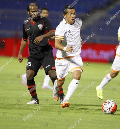 Al-riyadh Player Abdullah Al-mosa (l) in Action Against Al-shabab Player Rafinha (r) During the Saudi Crown Prince Cup Soccer Match Between Al-riyadh Sc and Al-shabab Fc at Prince Turki Bin Abdul Aziz Stadium in Riyadh Saudi Arabia 17 August 2015 Saudi Arabia Riyadh