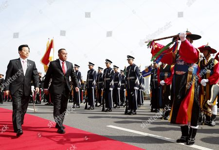 Indonesian Defense Minister General Ryamizard Ryacudu (2l) and South Korean Defense Minister Han Min-goo (l) Review a Honor Guard During a Welcoming Ceremony at the Headquarters of the Defense Ministry in Seoul South Korea 23 March 2016 Indonesian Defense Minister General Ryamizard Ryacudu Arrived in Seoul to Strengthen Bilateral Defense Cooperation Korea, Republic of Seoul