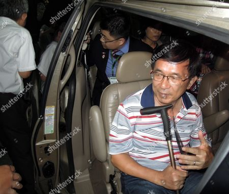 Taiwan's Former President Chen Shui-bian (r) on Medical Parole While Serving a 17-and-a-half-year Jail Term For Corruption Makes His First Public Appearance by Attending a Fund-raising Dinner Party in Taipei Taiwan 04 June 2016 Chen was President From 2000 Until 2008 and Supported Taiwan's Independence Chen's Supporters Are Urging President Tsai Ing-wen Chairwoman of the Pro-independence Democratic Progressive Party to Pardon Chen Taiwan Taipei
