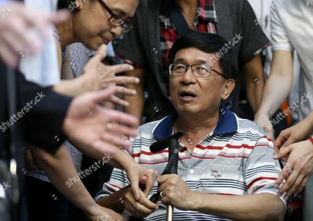 Stock Image of Taiwan Former President Chen Shui-bian(r) is Escorted by Relatives As Supporters Mobbed Him Before Attending an Event in Taipei Taiwan 04 June 2016 Taiwan Taipei