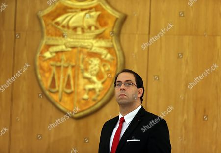 Tunisian New Prime Minister Youssef Chahed During a Ceremony Marking the Transfer of Power From Former Prime Minister Habib Essid (not Pictured) Tunis Tunisia 29 August 2016 the Unity Government Led by Prime Minister-designate Youssef Chahed was Backed by 167 Members of the 217-seat Parliament Tunisia Tunis