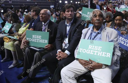 Representative Charles Rangel (r) Holds a Sign on the First Day of the Democratic National Convention at the Wells Fargo Center in Philadelphia Pennsylvania Usa 25 July 2016 the Four-day Convention is Expected to End with Hillary Clinton Formally Accepting the Nomination of the Democratic Party As Their Presidential Candidate in the 2016 Election United States Philadelphia