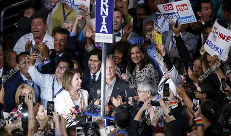 California Delegates Including Representative Nancy Pelosi Cast Their Votes During Roll Call on the Second Day of the Democratic National Convention at the Wells Fargo Center in Philadelphia Pennsylvania Usa 26 July 2016 the Four-day Convention is Expected to End with Hillary Clinton Formally Accepting the Nomination of the Democratic Party As Their Presidential Candidate in the 2016 Election United States Philadelphia