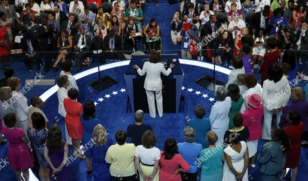Us Representative Nancy Pelosi (c) Speaks on the Second Day of the Democratic National Convention at the Wells Fargo Center in Philadelphia Pennsylvania Usa 26 July 2016 the Four-day Convention is Expected to End with Hillary Clinton Formally Accepting the Nomination of the Democratic Party As Their Presidential Candidate in the 2016 Election United States Philadelphia