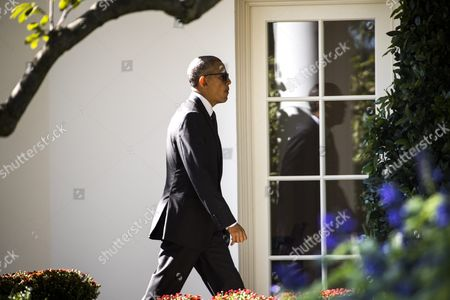 Us President Barack Obama Walks to the Oval Office of the White House After Returning From a Trip to Pennsylvania and Ohio in Washington Dc Usa 14 October 2016 in Pittsburgh Obama Spoke at a White House Frontiers Conference Panel Discussion; in Ohio He Delivered Remarks at an Event For the Ohio Democratic Party and Governor Ted Strickland United States Washington