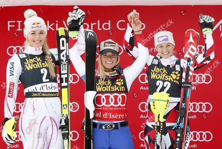 (l-r) Second Placed Lindsay Vonn of the Usa Winner Lara Gut of Switzerland and Third Placed Michaela Kirchgasser of Austria Celebrate on the Podium For the Women's Combined Race at the Fis Alpine Skiing World Cup in Val D'isere France 18 December 2015 France Val D'isere