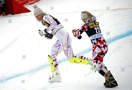 Second Placed Lindsay Vonn (l) of the Usa and Third Placed Michaela Kirchgasser of Austria Celebrate on the Podium For the Women's Combined Race at the Fis Alpine Skiing World Cup in Val D'isere France 18 December 2015 France Val D'isere