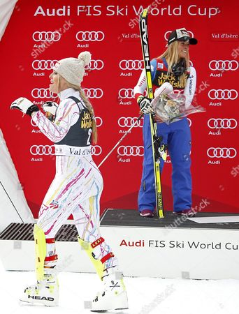 Second Placed Lindsay Vonn (l) of the Usa and Winner Lara Gut of Switzerland Celebrate on the Podium For the Women's Combined Race at the Fis Alpine Skiing World Cup in Val D'isere France 18 December 2015 France Val D'isere