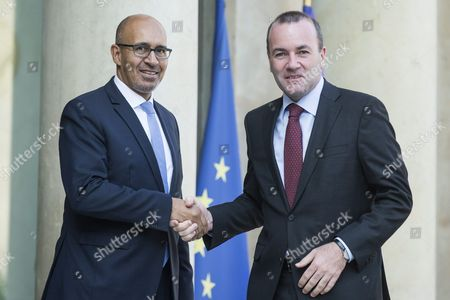 European People's Party's (epp Group) Head Manfred Weber (r) is Welcomed by French Junior Minister For European Affairs Harlem Desir Upon His Arrival at the Elysee Palace For a Meeting with French President Francois Hollande in Paris France 23 September 2016 France Paris