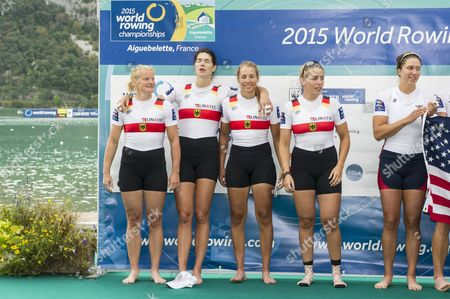 Silver Medal Winners Germany's (from Left) Annekatrin Thiele Carina Baer Marie-catherine Arnold and Lisa Schmidla During the Medal Ceremony For the Women's Quadruple Sculls Final Aty the 2015 Rowing World Championships on Lake Aiguebelette Near Chambery France 05 September 2015 France Chambery