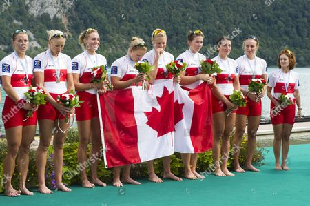 Bronze Medal Winners From Canada (from Left) Lisa Roman Cristy Nurse Jennifer Martins Ashley Brzozowicz Christine Roper Susanne Grainger Natalie Mastracci Lauren Wilkinson and Cox Lesley Thompson-willie During the Medal Ceremony For the Women's Eight Final of the 2015 Rowing World Championships on Lake Aiguebelette Near Chambery France 06 September 2015 France Chambery