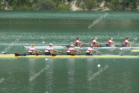 Germany's (front From Left) Annekatrin Thiele Carina Baer Marie-catherine Arnold and Lisa Schmidla in Action During the Women's Quadruple Sculls Final Aty the 2015 Rowing World Championships on Lake Aiguebelette Near Chambery France 05 September 2015 France Chambery