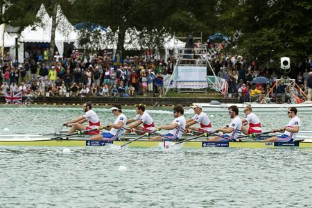 Britain's Scott Durant Alan Sinclair Tom Ransley and Stewart Innes in Action During the Men's M4- Four Semi Finals of the 2015 Rowing World Championships on Lake Aiguebelette Near Chambery France 03 September 2015 France Chambery