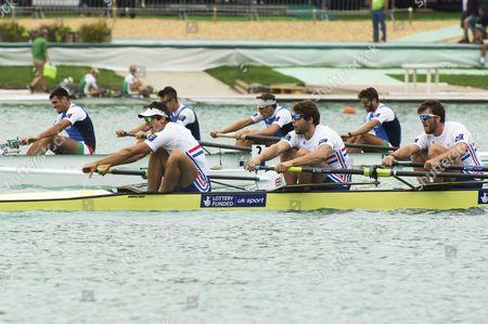 The Rowing Teams of Great Britain Scott Durant Alan Sinclair Tom Ransley Stewart Innes on Men's Four Semi Finals of the 2015 Rowing World Championships on Lake Aiguebelette Near Chambery France 03 September 2015 France Chambery