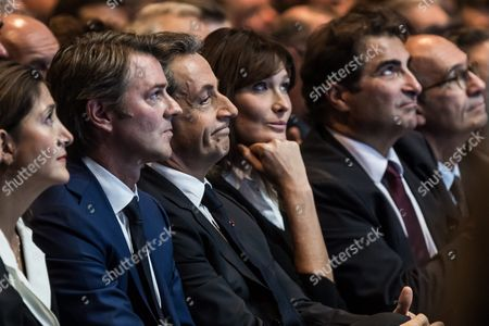 Ingrid Betancourt Former Presidential Candidate For Colombia (1-l) Mayor of Troyes Francois Baroin (2-l) Former President Nicolas Sarkozy (3-l) and Carla Bruni-sarkozy (4-l) Attend at the Right-wing Les Republicains (lr) Party's Rally For the Primaries Ahead of the 2017 Presidential Election at the Zenith Venue in Paris France 09 October 2016 France Paris