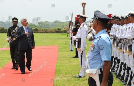 Japanese Defense Minister Gen Nakatani (2-l) Inspects the Guard of Honor During a Welcoming Ceremony in New Delhi India 14 July 2016 Nakatani is in India on an Official Visit and is Scheduled to Meet Indian Defense Minister Manohar Parrikar India New Delhi