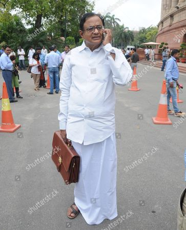 Former Indian Finance Minister Palaniappan Chidambaram Arrives at the Indian Parliament House in New Delhi India 18 July 2016 Parliament's Monsoon Session Begins to Discuss the Series of Bills Including the Bill For the Introduction of Goods and Services Tax (gst) on Priority India New Delhi